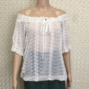 Trinity Off the Shoulder Embroidered Blouse Sz S